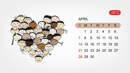 Vector calendar 2013, april. Art heart design