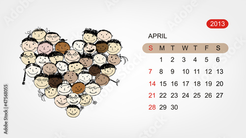 Vector calendar 2013, april. Art heart design