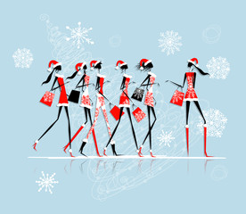 Christmas shopping, santa girls with bags
