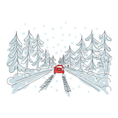 Red car on winter road, sketch for your design