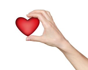 Woman hand holding red heart. Love, valentine and health symbol.