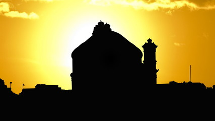 Malta The Mosta Rotunda golden sunset