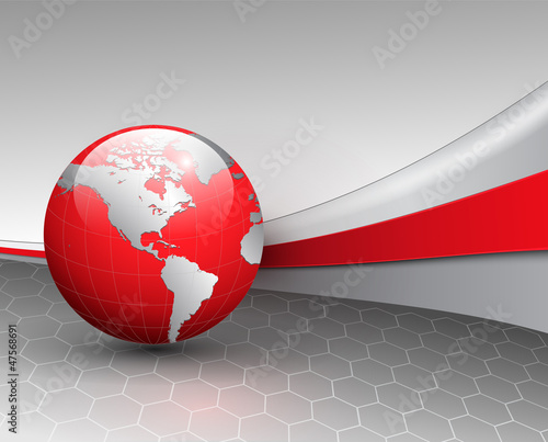 Business background, grey with red world globe