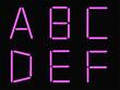 A,B,C,D,E,F alphabet pink neon