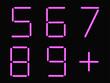 5,6,7,8,9,+ alphabet pink neon