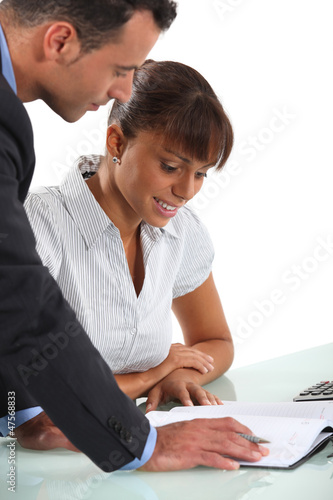Business partners going over company accounts