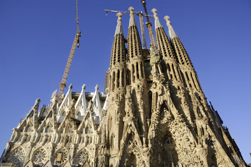 Sagrada Familia, Nativity Façade, low-angle. Barcelona