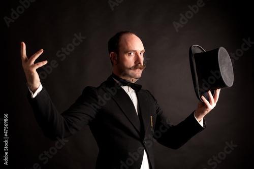 Expressive English gentleman with top hat
