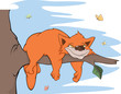 Cat on a tree and butterflies. Cartoon