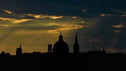 Malta Valletta skyline sunbeams