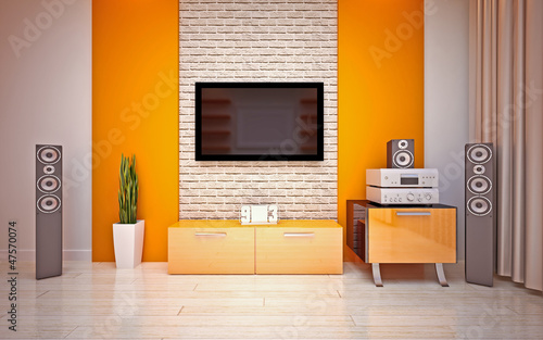 Modern living roomin bright orange shades