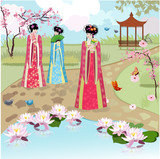 Chinese girls at the pond - 47570470