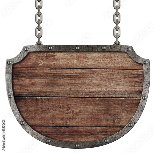 medieval signboard hanging on chains isolated on white