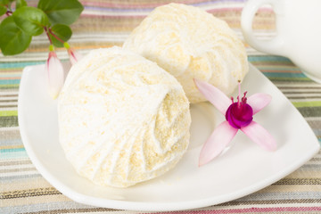 marshmallows on a plate