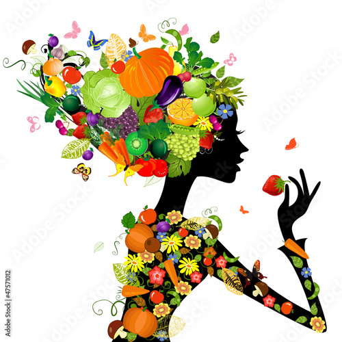 In de dag Bloemen vrouw Fashion girl with hair from fruits for your design