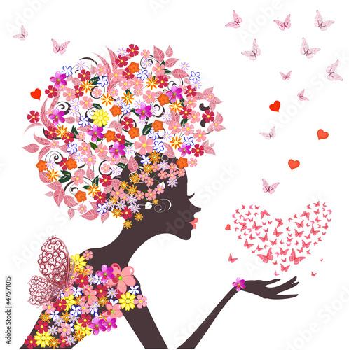 Foto op Canvas Bloemen vrouw fashion flowers girl with a heart of butterflies