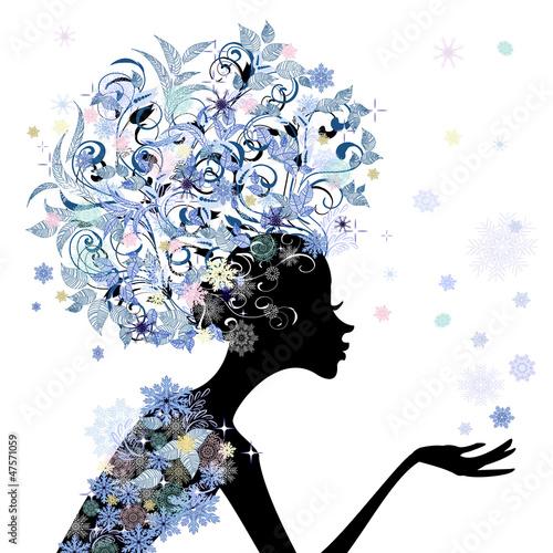 Foto op Canvas Bloemen vrouw Trendy flower girl hairstyle for your design