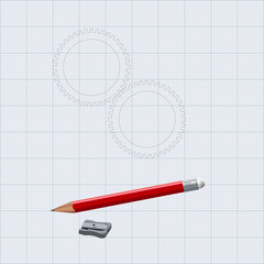 Drawing pencil with sharpener