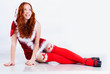 Redhead girl in christmas dress