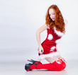 Redhead girl in christmas dress