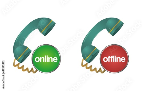 online, offline, chat, support, help telephone icon