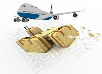 Plane flying over a puzzle consisting of suitcases