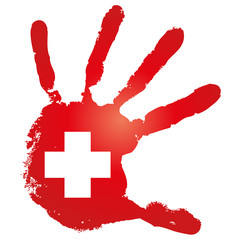 Vector conceptual red painted hand with white cross for medicine