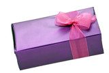 Purple gift box of chocolates with pink ribbon on white