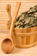 Wooden sauna bucket and spoon