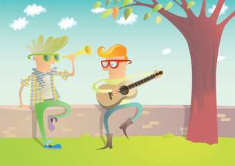 Two Hipsters Playing Guitar and Trumpet