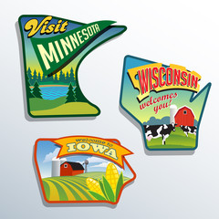 United States Minnesota Wisconsin Iowa  illustrations designs