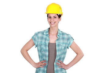 Confident female builder
