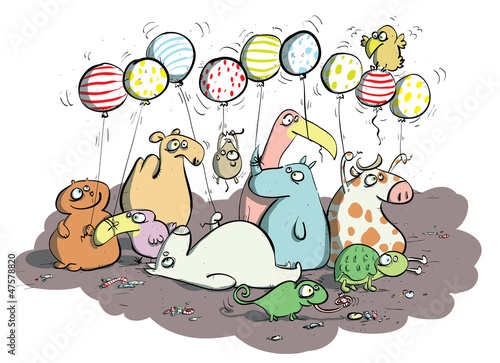 Animals with Balloons and Sweets