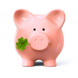 Piggy bank with four leaf clover