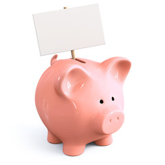 Piggy bank with signboard
