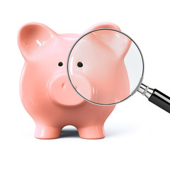 Piggy bank with magnifying glass