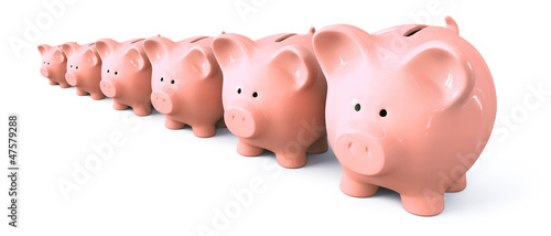 Piggy bank starting from small to big -  front left view