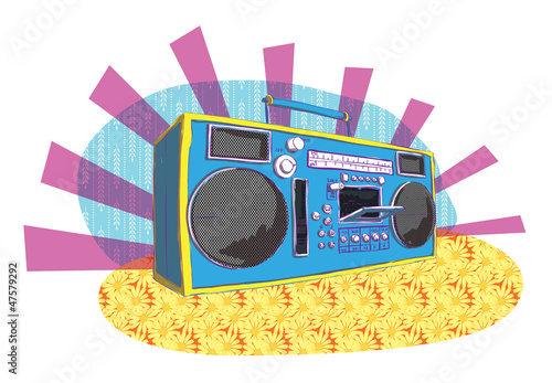 Retro Boom-box in pop-art manner