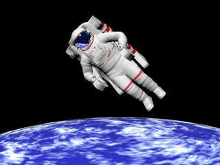 Astronaut looking at the earth - 3D render