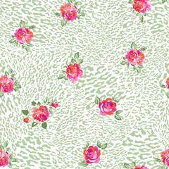roses over animal light seamless background