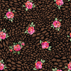roses over animal dark seamless background