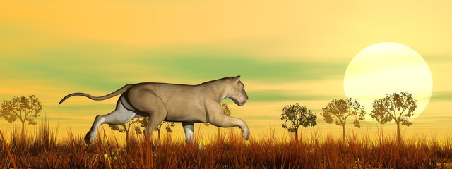 Lioness running in the savannah - 3D render