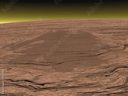 Mons Olympus on Mars planet - 3D render