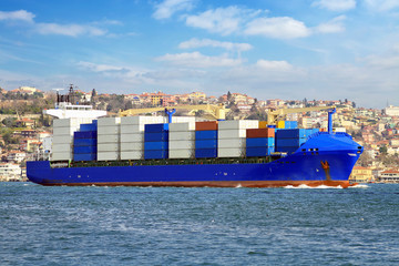 Container ship transporting export goods