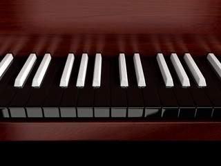 Black piano with inverted keys