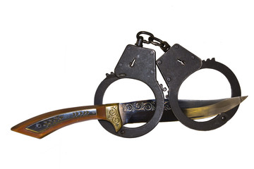 Handcuffs and hunting knife