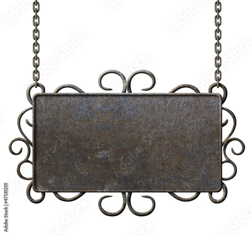 metal signboard hanging on chains isolated