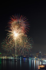 Night view and firework at Pattaya city, Thailand.