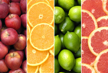 collage of healthy fruits and sliced citruses