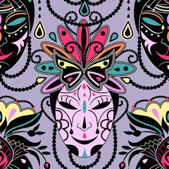 Colorful mask seamless background